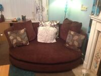 Brown Corner sofa/chase with cuddle sofa/chair