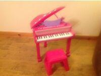 Kids Pink Piano And Stool