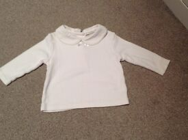 John Lewis cream top with collar and bow. Size 3-6 months.