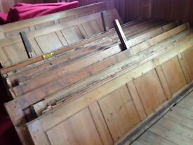 Antique pitch pine pew backs - would make great cafe tables or similar