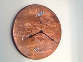Oak barrel lid wall clock