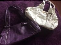 Purple and white hand bags