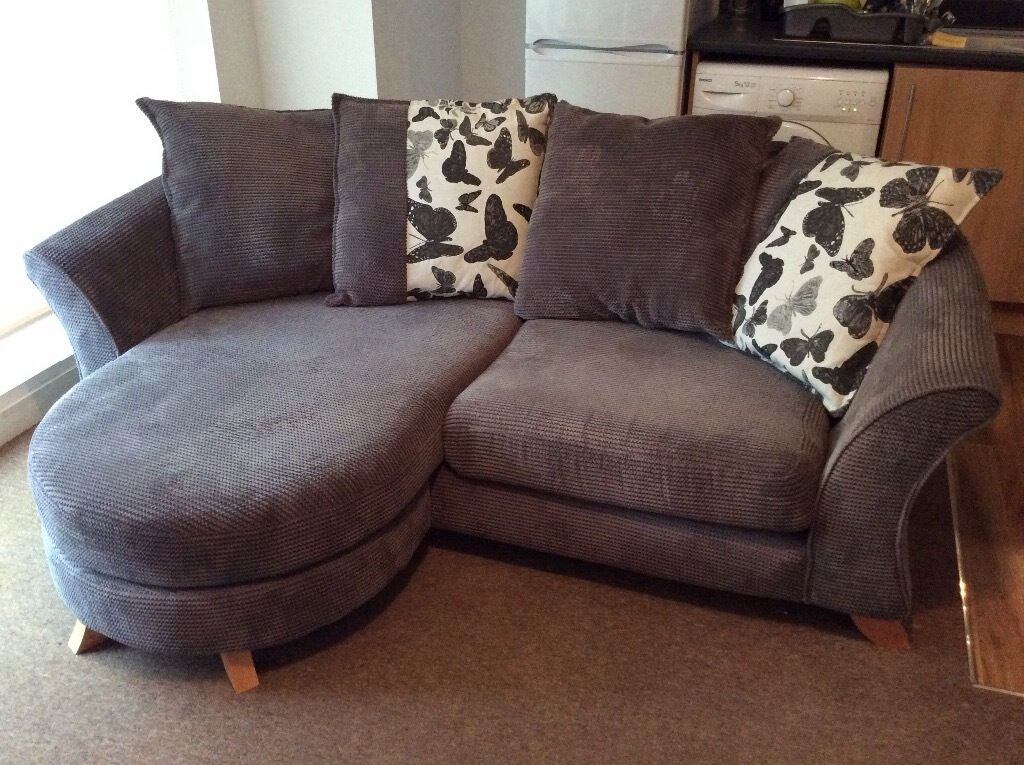Dfs Gloss 3 Seater Fabric Lounger Sofa In Dark Grey