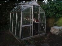 "Aluminium greenhouse approx 6ft X 4'6"""