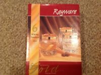 Vintage rayware whiskey glasses. Brand new and in box.
