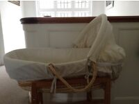 Moses basket and mattress and sheets for sale. Good condition. From smoke and pet free home
