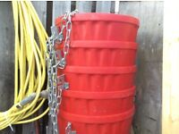 Red Scaffolding Chutes x 5 with chains 21 inch diameter £120