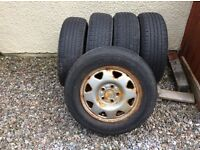 TYRES x5 Bridgestone tyres for sale - part worn - 3 on wheels