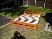 KING SIZE WOODEN BED FRAME AND MATRESS