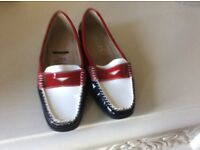 Ladies shoes size 3 1/2 loafers from pavers Bnwt red/white/blue patent