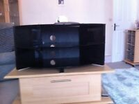 black glass corner tv unit, 3 shelves