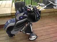 Ladies / youth's Dunlop golf clubs as new with bag and Motocaddy S1 Lite trolley
