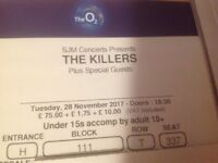 2 x tickets for The Killers at the O2 arena on Nov. 28th.