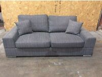 Grey Fabric Verona 3 Seat Sofa - Ex Display - £249 Including Free Local Delivery