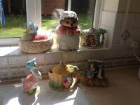 Beatrix Potter Enesco Cookie jar, egg basket, teapots, money box & figurine