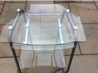 Small glass computer desk - silver frame