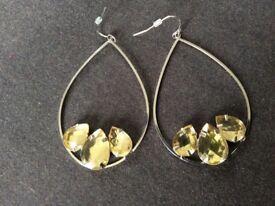 teardrop hoop diamante earrings