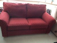 2 seater SofaBed - Nearly new Laura Ashley - red and gold velvet velour