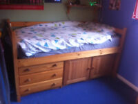 Cabin bed - midi - with drawers and cupboard under