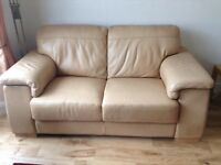 Italian leather 2 seater sofa in gold ( Hebden Bridge )