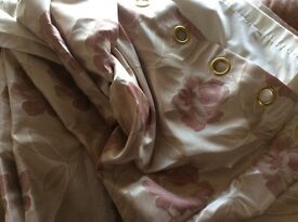 Rose and champagne eyelet curtains