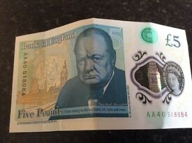 Five pound note AA serial number