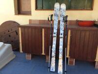 Ladies Solomon pure white skis and poles