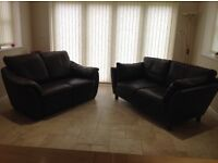 2 Brown leather settees,immaculate condition