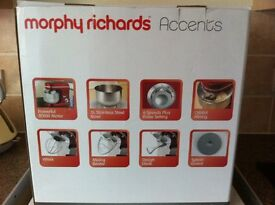 Morphy Richards Accents Stand Mixer Red In box as new used twice reluctant sale due to downsizing