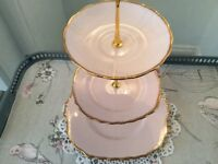 Royal Vale Bone China 3 Tier Cake Stand. Baby Pink.