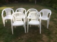 Garden Chairs - 6 White Plastic in Good Condition