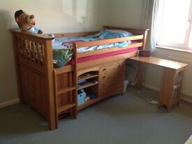 Beautiful antique pine cabin bed in good condition.
