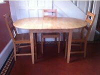 Wooden Extendable Dining Table & 3 Chairs / Can Deliver