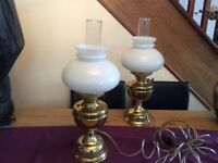 Two electric lamps. Look like oil lamps