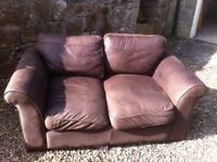 Two brown leather sofas, 2-seater and 3-seater, very good condition and comfortable.