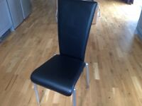 Black leather office or dining chair, Danish, high quality