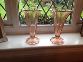 LOVELY PAIR CUT GLASS ART DECO VASES - price is for pair