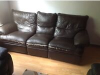 3 seater leather sofa recliner..free delivery