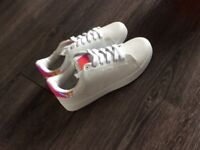 Brand new women's size 4 white and pink trainers from Boohoo