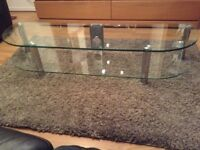 Clear Glass TV Bench Stand