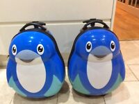 Children's Cabin Sized Penguin Suitcases With Telescopic Handles x 2