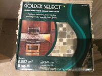 Glass and travertine stone mosaic wall tiles x 2 boxes to cover 12 square feet in total