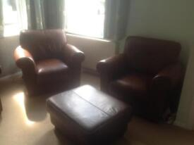 Leather 3piece suite with footstool