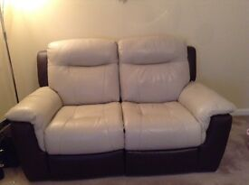 Electric recliner 3 & 2 seater leather sofa