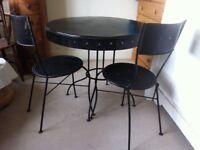 Designer HABITAT Heritage Dining Table 2 Chair Set Rustic Iron Cafe Bistro Kitchen / Can Deliver