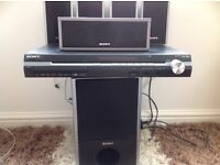 Sony surround sound six speakers DVDs and cd sound great,heavy bass.