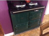 Gas Aga 2 hot plate range in green in good condition