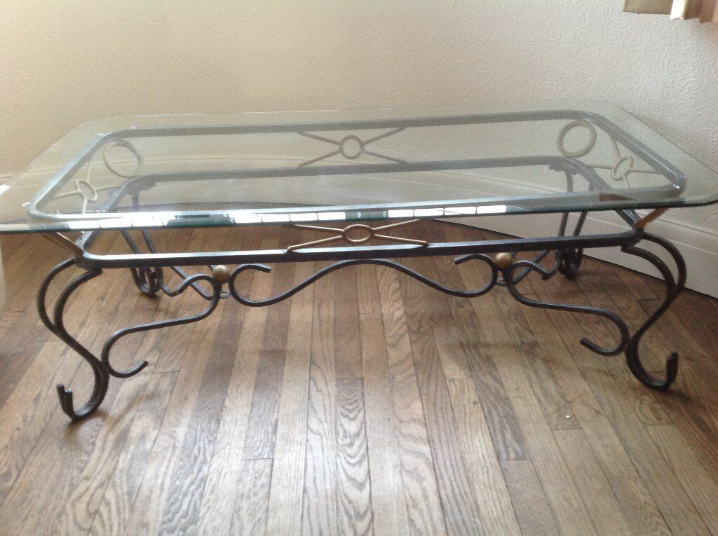 Set of three wrought iro coffee tables
