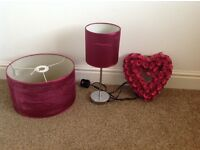 Matching lampshade, bedside lamp and heart accessorie