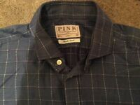 THOMAS PINK Finest Twill Denim Blue Check Shirt, Double Cuff, Chest 42